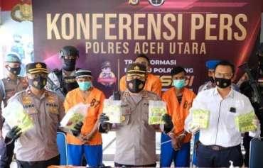 Polres Aceh Utara Tangkap 3 Tersangka dan 7 kg Sabu Senilai Rp7 miliar di Kampung Nelayan Aceh